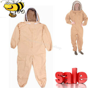 Durable Cotton Full Body Bee Keeping Suit W veil Hood Khaki L xl xxl Equipment