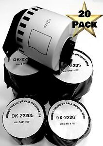 20 Rolls Of Dk 2205 Brother Compatible Continuous Labels 1 Reusable Cartridge