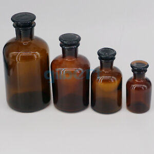 60 2500ml Brown Glass Narrow Mouth Bottle With Stooper Lab Chemistry Glassware
