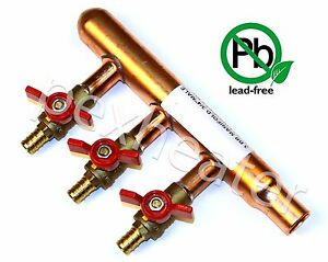 3 Port Pex 3 4 Sweat Plumbing Manifold 1 2 Ball Valves Red Closed End Lead Free