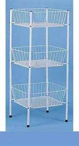 Display Bin Wire Rack Dump 3 Tier Square Basket Rack 46 Tall Mercandise Toys