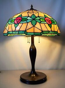 Antique Stained Glass Lamp With Bronze Base In Rose Pattern C 1910 Handel Era