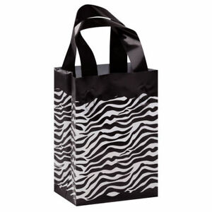 Plastic Bags Zebra Print 100 Retail Gift Frosty Merchandise 5 X 7 X 3 Frosted