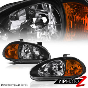 1993 1997 Honda Civic Del Sol 1 6l Vtec Si Black 1pc Jdm Corner Lamps Headlights
