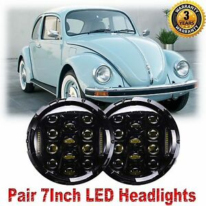 7inch Chrome Cree Led Headlights Upgrade Hi Low Beam Round For Vw Beetle Classic