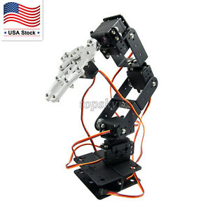 6 Dof Arm Aluminium Robot Mechanical Robotic Arm Clamp Claw Mount Kit Us Stock