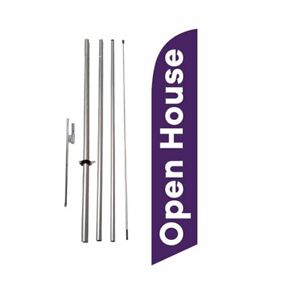 Open House Real Estate 15 Feather Banner Swooper Flag Kit W Pole spike purp