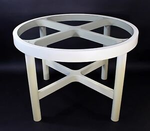 Mid Century Modern Round White Plastic Glass Dining Table Kartell Style 1970s