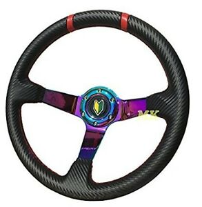 350mm Neo Chrome Steering Wheel Deep Dish 6 Bolt Black Carbon Fiber Red Ring Jdm