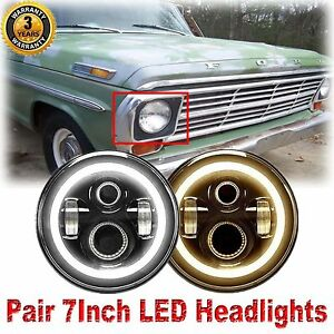 7inch Cree Led Sealed Beam Headlight Halo Drl Amber Turn Signal For Ford F100 69