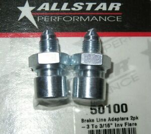 Allstar Steel Brake Line Adapter 3 An To 3 16 Inverted Flare 2pk All50100