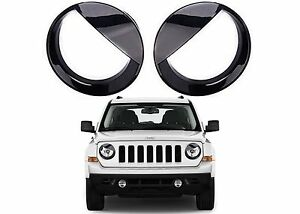 Black Angry Eye Headlight Bezels For 2011 2017 Jeep Patriot New Free Shipping