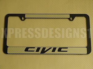Honda Civic License Plate Frame Gold Carbon Fiber