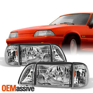 Fit 87 93 Mustang Clear Headlights W Corner Parking 6pcs Complete Replacement