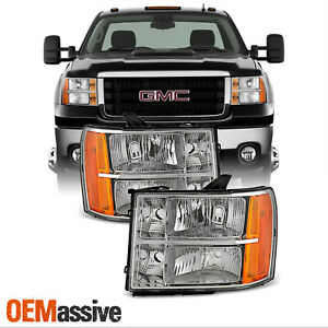 Fit 2007 2013 Gmc Sierra 1500 07 14 2500hd 3500hd Headlights Replacement Lamps