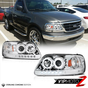 For 97 03 Ford F150 Expedition Chrome Angel Eye Projector Led Drl Headlight Lamp