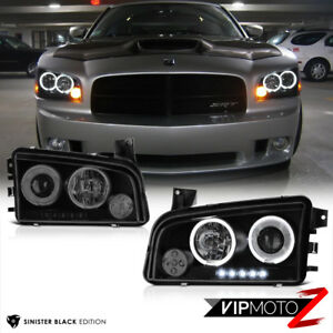 2006 2010 Dodge Charger Sinister Black Quad Halo Led Projector Headlights Lamp