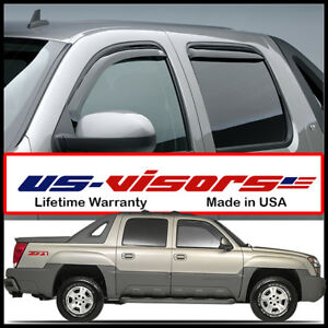 Us Visors 2002 06 Chevy Avalanche Window Vent Visors Rain Guards In Channel 4 Pc