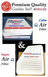 Combo Engine Cabin Air Filter For Camry Venza Rav4 Vibe Es350 Xb Tc Oem Quality