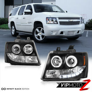 For 07 14 Chevy Avalanche Suburban Tahoe Halo Led Projector Headlight Lamp Black