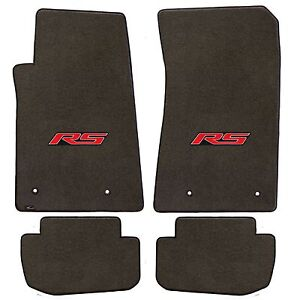 Camaro 2010 4pc Car Floor Mats Carpet Black Ebony Velourtex Rs Logo