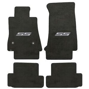 Camaro 2016 4pc Car Floor Mats Carpet Black Ebony Velourtex Ss Silver Logo