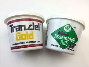Two Tubs Of Transjel Lubegard Transmission Assembly Lube 1 Gold And 1 Green