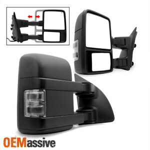 Fit 99 07 Ford F250 F350 F450 Smoked Power Heated Led Signal Towing Side Mirrors