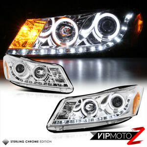 Euro Chrome Led Projector Headlight drl Pair Assembly 2008 12 Honda Accord 4dr