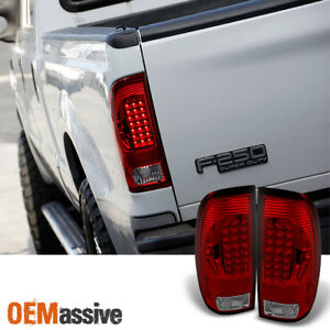Fits 97 03 F150 F250 Pickup 99 07 Ford Superduty Red Clear Led Tail Lights Lamps