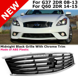 Coupe Front Bumper Hood Grille Midnight Black For Infiniti 08 13 G37 14 15 Q60