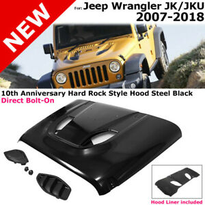 For 07 18 Jeep Jk Wrangler Metal Rubicon 10th Anniversary Hard Rock Style Hood