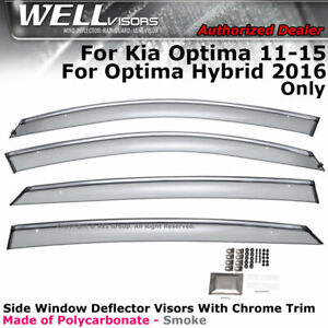 Wellvisors For Kia Optima 11 15 Side Deflector 2016 Hybrid Window Visors Chrome