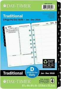 Day timer Daily Planner Refill 2017 Two Page Per Day Loose Leaf 5 1 2 X 8 1 2