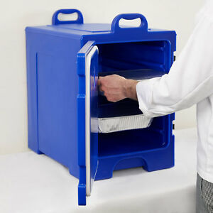 16 3 4 X 24 X 25 Blue Front Loading Insulated Food Pan Carrier W Handles