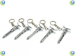 5x Dental Aspirating Syringe Keychain Dentist Hygienist Student Tech Stainless