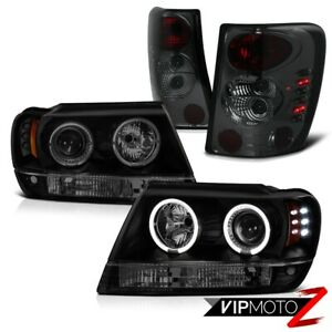 For 99 04 Jeep Grand Cherokee V8 Headlights Halo Led Black Smoke Tail Lights 4x4