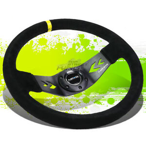 Nrg Universal Suede Aluminum 350mm 6 bolt Racing Steering Wheel horn Yellow
