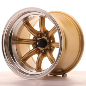 4x Japan Racing Jr19 15x10 5 Et 32 4x100 114 Gold Alloy Wheels Rs Watanabe