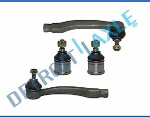 New 2 Front Lower Ball Joints Outer Tie Rod Ends For Honda Civic Del Sol