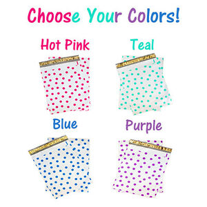12 X 15 Pink Teal Purple Blue Poly Shipping Mailers Polka Dot Envelope Bags