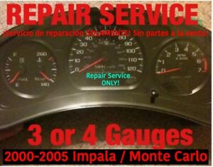2002 Gm Impala Monte Carlo 3 Or 4 Instrument Gauge Cluster Repair Service 01 02