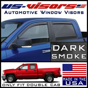 Us visors 2014 2019 Chevy Silverado Double Cab Window Vent Visors In channel 4pc