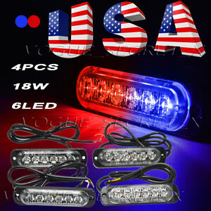 4pcs Red Blue 6leds 18w Car Truck Emergency Hazard Warning Flash Strobe Light Us