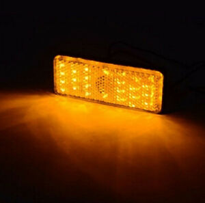 2x Rectangle Reflector Led Yellow Tail Brake Stop Light Universal Car Auto Truck