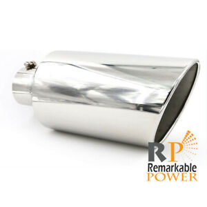 Inlet 4 Outlet 8 18 Exhaust Tip Single Layer 20 Angled Cut Rolled Edge
