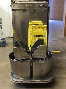 Royce Rolls Stainless Steel Janitorial Carts With Mop Buckets Caution Signs