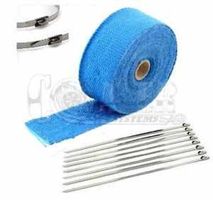 Blue Lava Exhaust Pipe Heat Wrap 2 X 25 Motorcycle Header Insulation