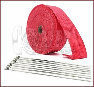 1 Red High Temperature Header Manifold Exhaust Wrap Roll Steel Zip Ties