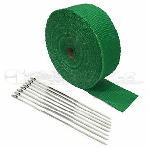 2 Green High Temperature Header Manifold Exhaust Wrap Roll Steel Zip Ties New
